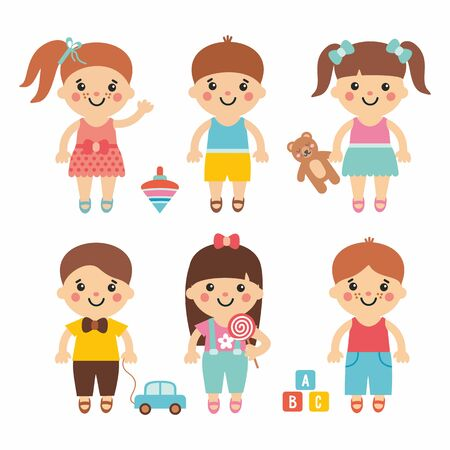 Illustration pour Funny kids - cute cartoon collection with sweet children. Boys and girls character with toys. Teddy, balloon, bricks, candy, whirligig and car. Simple and flat style. - image libre de droit