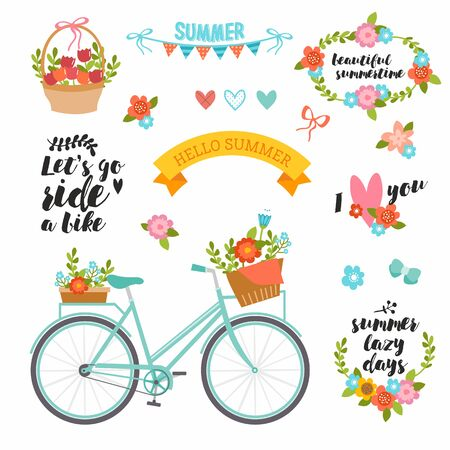 Photo pour Romantic summer set in bright colors. Cute collection with typography, bike, flowers bouquet, basket, wreath and heart. Perfect for wedding invitation, cards and banners. - image libre de droit