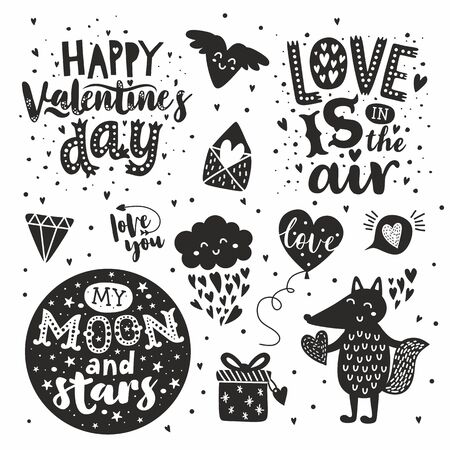 Illustration pour Happy Valentines Day hand drawn set. Handwritten calligraphy text on white background. Amazing love message: - image libre de droit