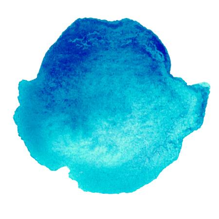 colorful blue watercolor stain with aquarelle paint blotch