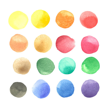 Illustration for colorful watercolor blots isolated on white background - Royalty Free Image