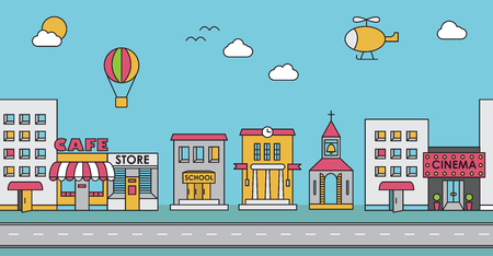 Ilustración de Seamless pattern of the buildings. Background for game. Cafe, cinema, store, church, apartment house,cottage,school, Hall, factory - Imagen libre de derechos