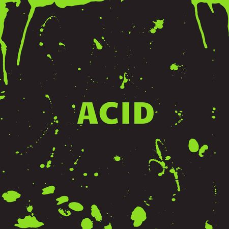 Toxic acid droplets on a black background