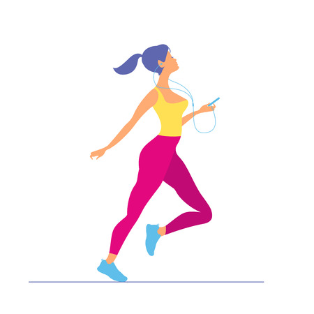 young woman in sportswear running. Morning running. Girl with pl