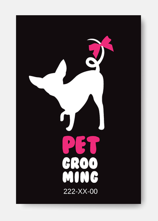Poster template with dog silhouette on black background. Pet gro