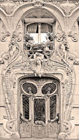 Typical Art Nouveau building in Paris, France (sepia)