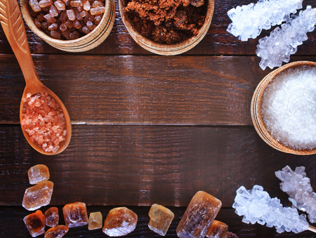 different kind of sugars on the wooden table