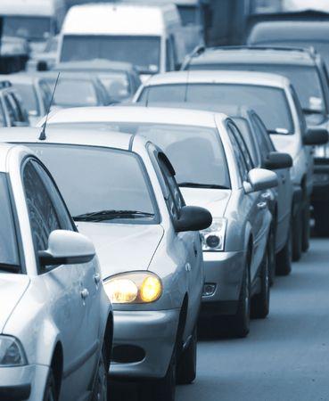 Morning traffic jam on a road in Kiev 3