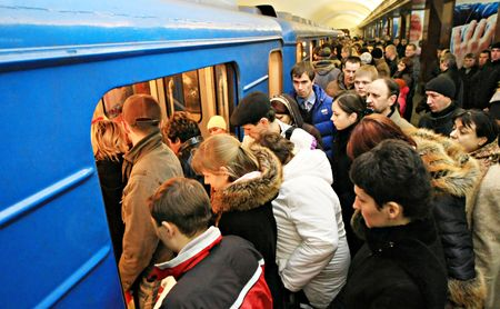 Kyiv, Ukraine-January 23, 2008--crowd is in underground. Kiev. Ukraine