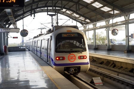 Indian modern metro train in Delhi