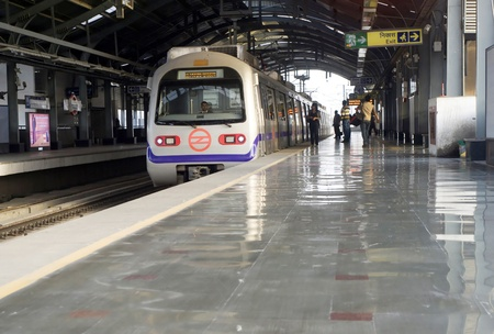 Delhi, India -  March 03, 2012: Delhi Metro station  in Delhi. Delhi Metro network consists of six lines with a total length of 189.63 kilometres (117.83 mi) with 142 stations