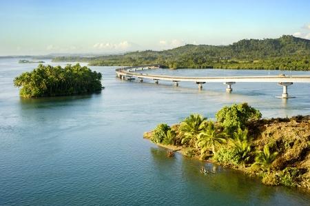 The San Juanico Bridge, view from Leyte, towards Samar. Philippines