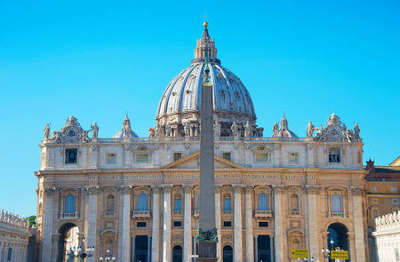Front view of St. Peter's Basilica in the sunny day. Vatican. Rome