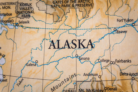 Photo pour Closeup Selective Focus Of Alaska On A Geographical And Political State Map Of The USA. - image libre de droit