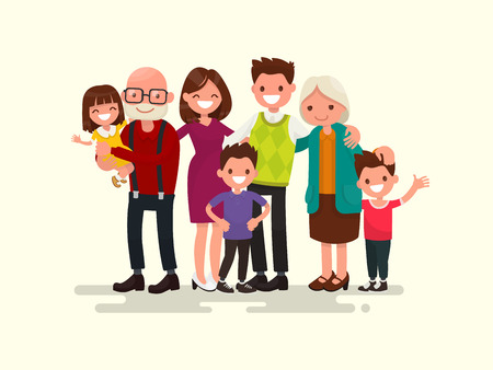 Illustration pour Big family together. Vector illustration of a flat design - image libre de droit