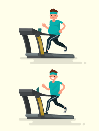 Before and after. Obese man running on a treadmill and he  after slimming. Vector illustration of a flat design