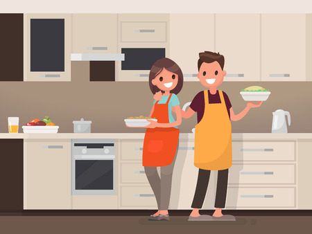Ilustración de Husband and wife are preparing together. Man and woman in the kitchen. Vector illustration in a flat style - Imagen libre de derechos