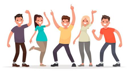 Ilustración de Happy group of young people. Vector illustration in a flat style - Imagen libre de derechos