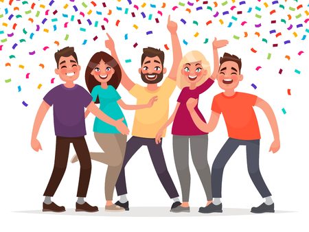 Ilustración de Happy people celebrate an important event. Joyful emotions. Vector illustration in cartoon style. - Imagen libre de derechos