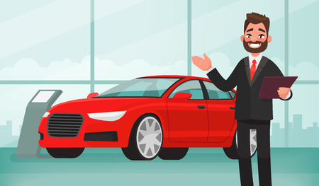 Ilustración de Sale of a new car. The seller at the car showroom shows the vehicle. Vector illustration in cartoon style - Imagen libre de derechos