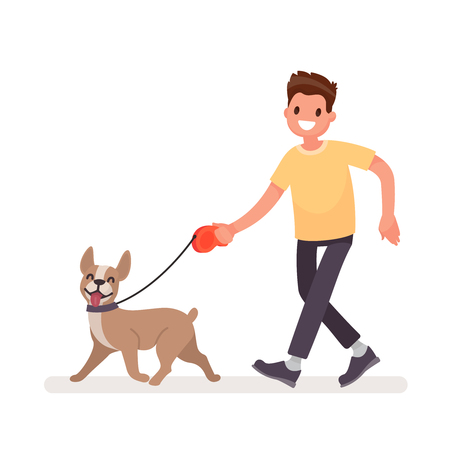 Illustration for Man is walking with a dog. Vector illustration in a flat style - Royalty Free Image
