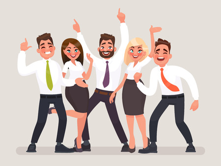 Ilustración de Successful business team. A group of happy office workers celebrating the victory. People with their hands up vector illustration in cartoon style. - Imagen libre de derechos