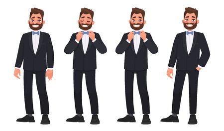 Illustration pour Set of character a bearded man in a business suit with a bow tie. The groom.  Illustration in a cartoon style - image libre de droit