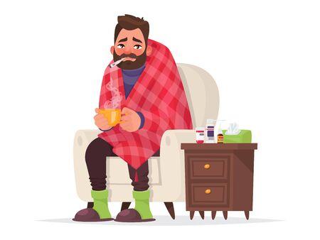 Illustration pour Sick man. Flu, viral disease. Illustration in cartoon style - image libre de droit