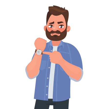 Illustrazione per Dissatisfied man shows on the clock. Hurry up. Deadline. Impatient boss. Vector illustration in cartoon style - Immagini Royalty Free