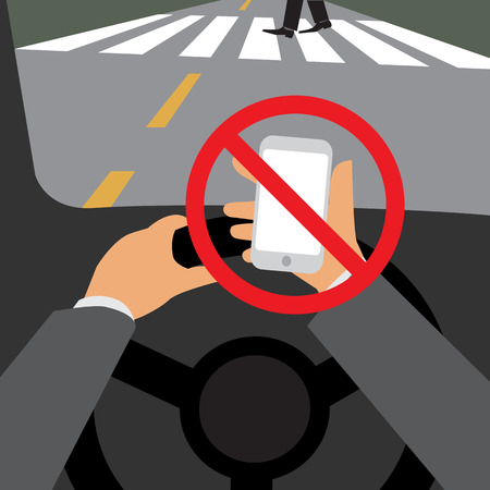 Danger, Do not use your phone while driving, Illustration design.