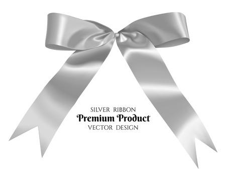 Silver ribbon and bow, vector illustration.
