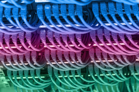 rows of network cable connected to router and switch hub in server room