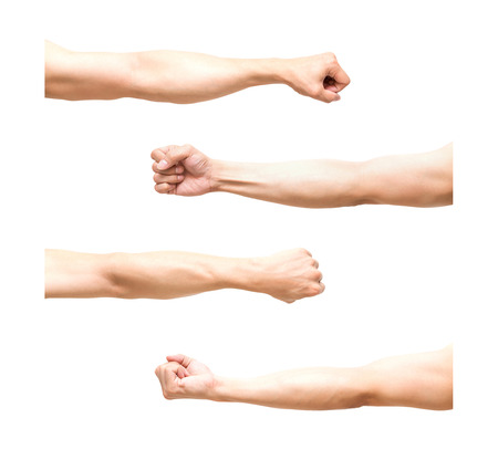 Photo pour sum 4 pic of Arm in fist action on white background,include clipping path - image libre de droit