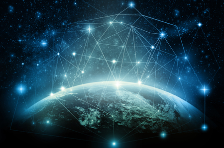 Photo pour Part of earth with network line and point on the star and Milky Way background, Internet Network concept - image libre de droit