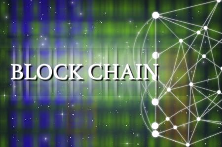 Photo pour Block chain Text on Technology connection background, Distributed ledger technology, block chain network conncept - image libre de droit
