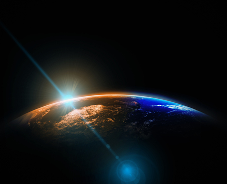 Photo pour Part of earth with sun rise and lens flare background, Internet Network concept, Elements of this image furnished by NASA - image libre de droit