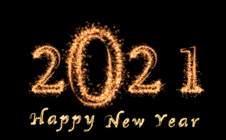 Photo pour 2021 and Happy New Year written with Sparkle firework on dark background, Happy new year and merry christmas celebration, banner and greeting cards concept - image libre de droit