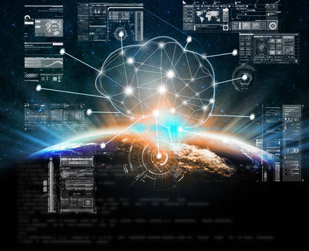 Photo pour Polygonal brain shape of artificial intelligence with Technology digital virtual screen over Part of earth over the Milky Way background - image libre de droit