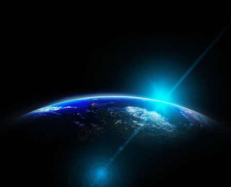 Photo pour Part of earth with sun rise and lens flare background, Internet Network concept - image libre de droit