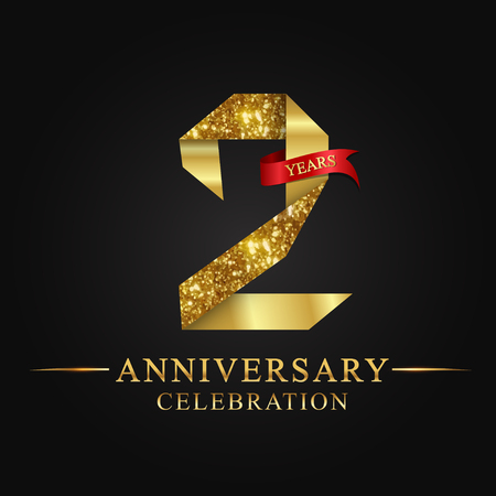 Ilustración de anniversary, 2 years anniversary celebration logotype. Logo,ribbon golden number on black background.Numbers ribbon gold foil. - Imagen libre de derechos