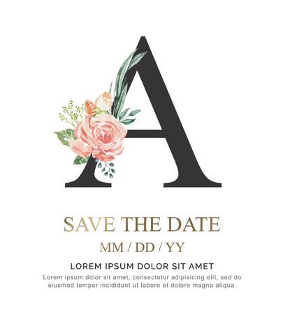 Ilustración de Alphabet A flower font made of paint floral and leaf watercolor on paper. Vector Hand Drawn letter A paint luxury design. Sweet collection for wedding invites decoration card and other concept ideas. - Imagen libre de derechos