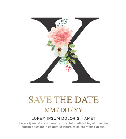 Ilustración de Alphabet X flower font made of paint floral and leaf watercolor on paper. Vector Hand Drawn letter X paint luxury design. Sweet collection for wedding invites decoration card and other concept ideas. - Imagen libre de derechos