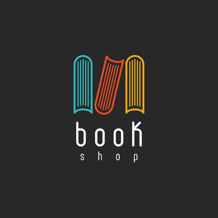 Foto de Book shop logo, mockup of sign literature store, design library icon - Imagen libre de derechos