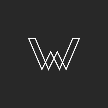 W letter logo, geometric line illusion, mockup business sign