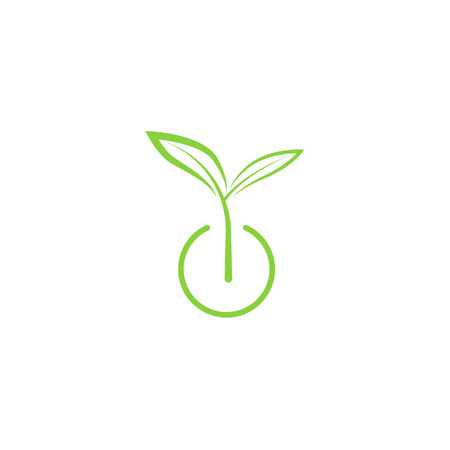 Illustration pour Sprout mockup eco logo, green leaf seedling, growing plant - image libre de droit
