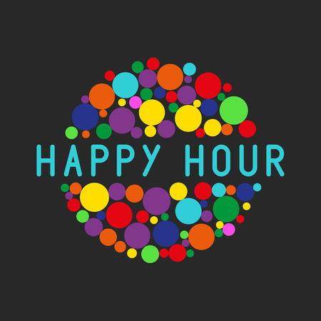Happy hour party poster, colorful bubbles of free cocktail drink