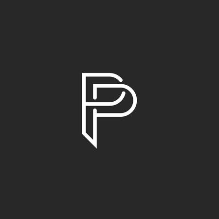 P letter monogram logo, black and white mockup invitation or business card emblem, decorative sign