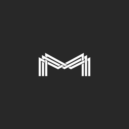 M letter monogram logo, black and white mockup business card or wedding invitation, geometric shape of three intersection thin line