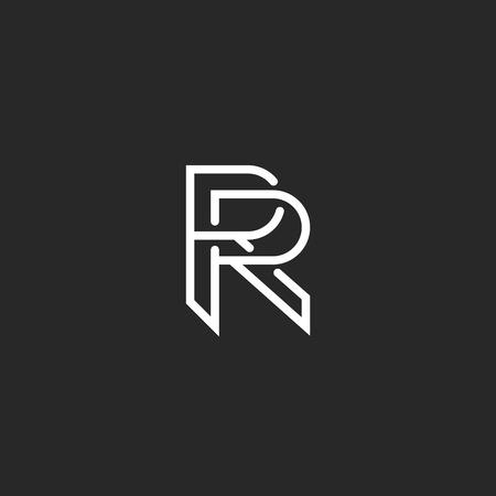 Enement Invitation Template | Letter R Logo Monogram Mockup Hipster Black And White Design