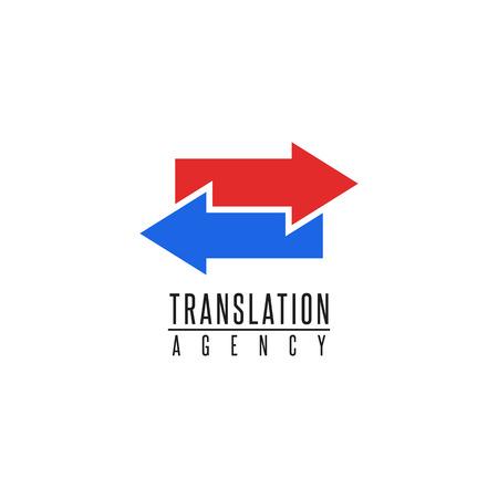 Illustration pour Arrows logo translation agency mockup design element, online education language school, graphic geometric shape blue and red finance exchange emblem - image libre de droit